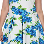White Mark-Plus Sleeveless Floral Fit & Flare Dress