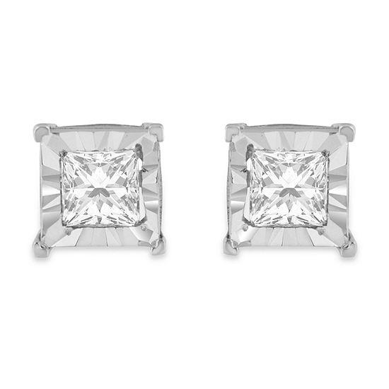 1 1 6 Ct Tw Genuine White Diamond Sterling Silver 5mm Stud Earrings