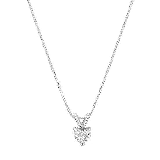 Womens 1/3 CT. T.W. Genuine White Diamond 14K White Gold Pendant Necklace