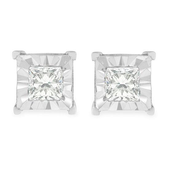 1/2 CT. T.W. Genuine White Diamond Sterling Silver 5mm Stud Earrings