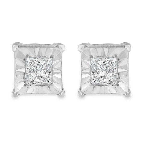 1/3 CT. T.W. Genuine White Diamond Sterling Silver 3.5mm Stud Earrings