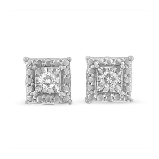 1/10 CT. T.W. Genuine White Diamond Sterling Silver 5mm Stud Earrings
