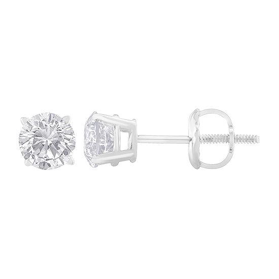 1 CT. T.W. Genuine White Diamond Sterling Silver 4.9mm Stud Earrings