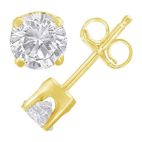 1/4 CT. T.W. Genuine White Diamond 14K Gold 13mm Stud Earrings