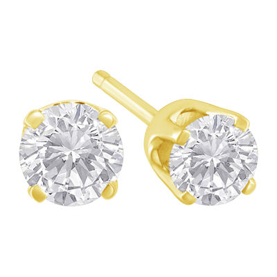 1/3 CT. T.W. Genuine White Diamond 14K Gold 3.5mm Stud Earrings