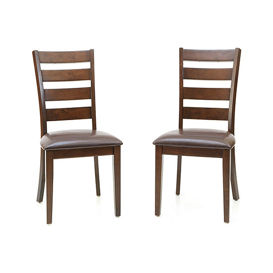 Landry Set Of 2 Faux Leather Ladderback Dining Chairs