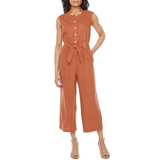 Liz Claiborne Womens Button Front Jumpsuit - Petite