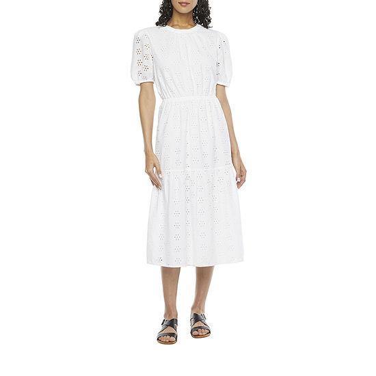 a.n.a Short Sleeve Midi A-Line Dress-Tall