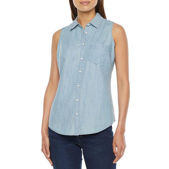 St. John's Bay-Tall Womens Sleeveless Regular Fit Button-Down Shirt