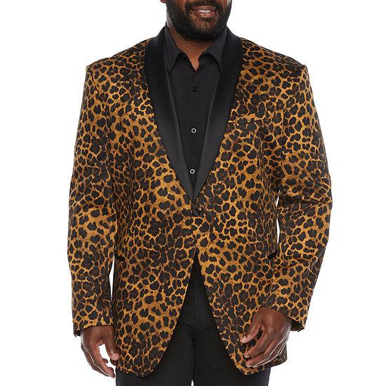 JF J.Ferrar Evening Edition Mens Leopard Stretch Regular Fit Sport Coat - Big and Tall