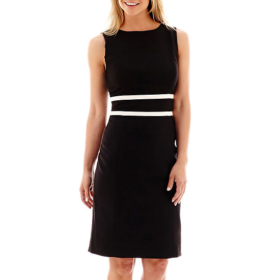 fbd1b5e0b4c Black Label by Evan Picone Sleeveless Contrast Trimmed Sheath Dress
