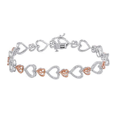 ForeverMine® 1/10 CT. T.W. Diamond Heart Two-Tone Bracelet
