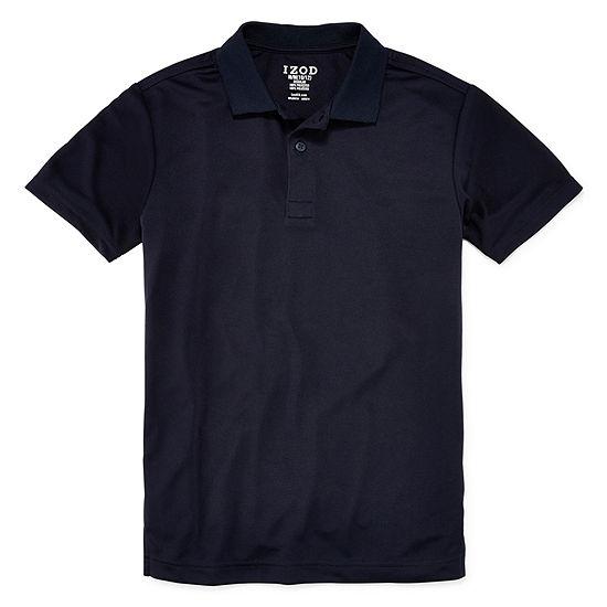 Izod Exclusive Boys Point Collar Short Sleeve Moisture Wicking Polo Shirt