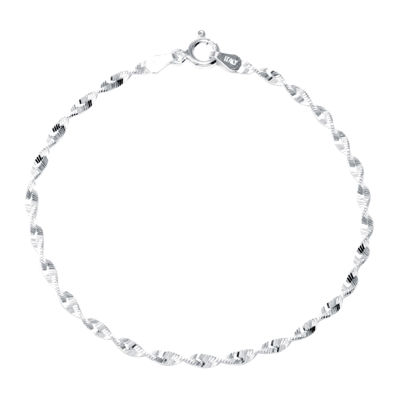 "Silver Reflections™ Sterling Silver 7"" Twist Chain Bracelet"