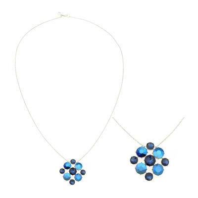 """Monet® Blue Stone 32"""" Silver-Tone Pendant Necklace"""