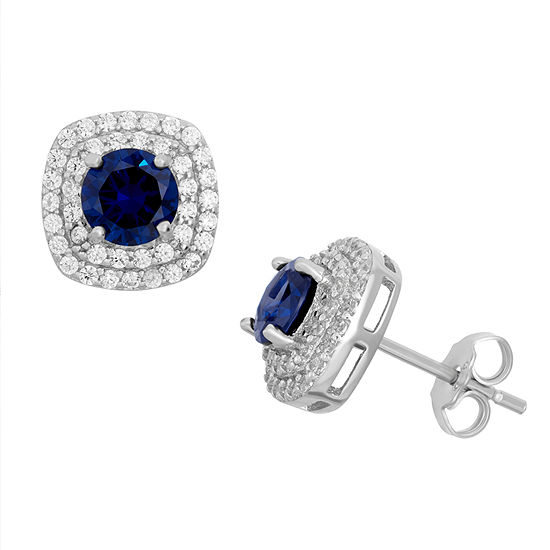 Simulated Blue Sapphire Sterling Silver Earrings