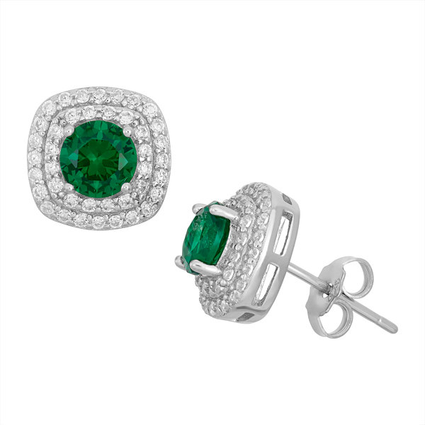 Simulated Emerald Sterling Silver Earrings