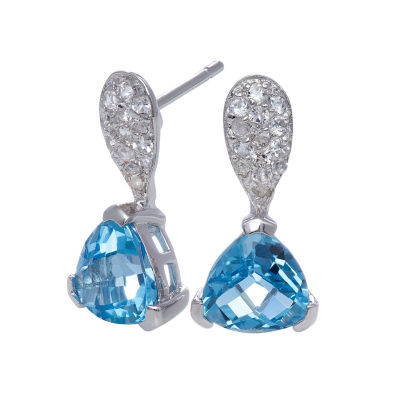 Genuine Swiss Blue & White Topaz Sterling Silver Earrings