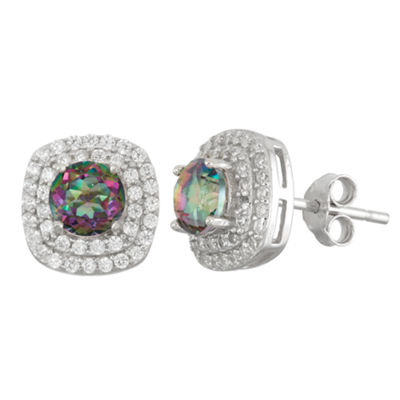 Simulated Mystic Topaz Sterling Silver Earrings