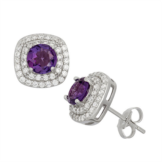 Simulated Amethyst Sterling Silver Earrings