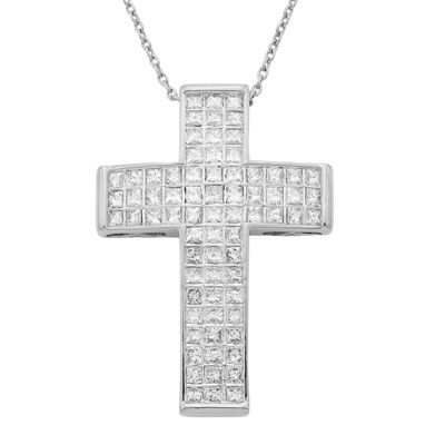 14K White Gold 1 CT. T.W. Diamond IGL Certified Cross Pendant Necklace