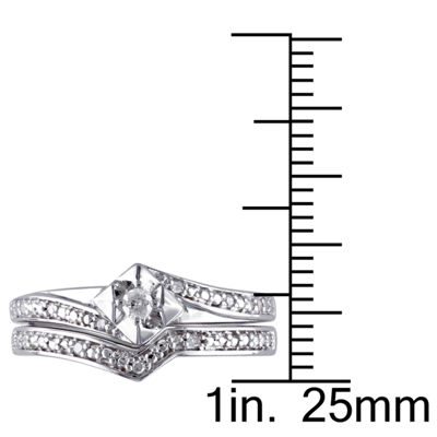 1/10 CT. T.W. Diamond Sterling Silver  Art Deco Style Bridal Set