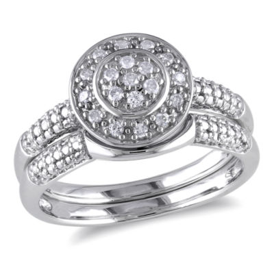 1/7 CT. T.W. Diamond Halo Sterling Silver Bridal Set