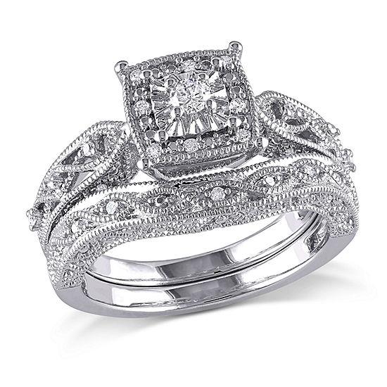 1/5 CT. T.W. Diamond Sterling Silver Vintage Style Bridal Set