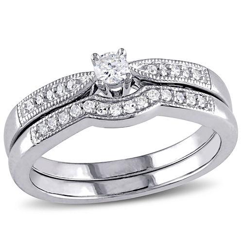 1/5 CT. T.W. Diamond Sterling Silver Bridal Set
