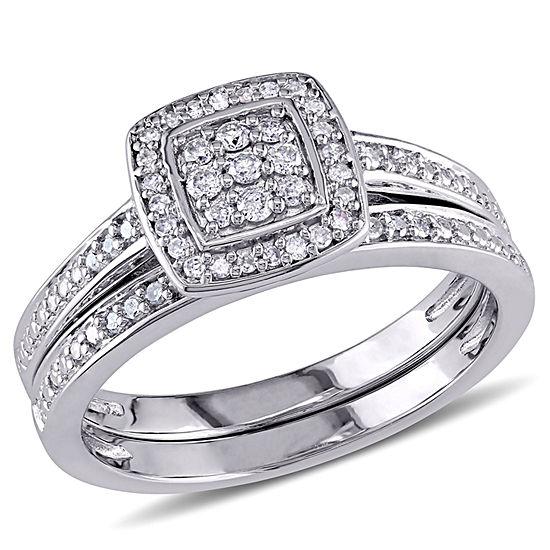 1/4 CT. T.W. Diamond Sterling Silver Bridal Set