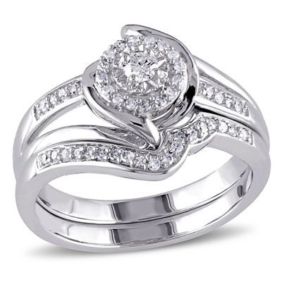 1/4 CT. T.W. Diamond Halo Sterling Silver Bridal Set