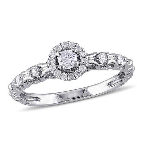 1/4 CT. T.W. Diamond Sterling Silver Halo Engagement Ring