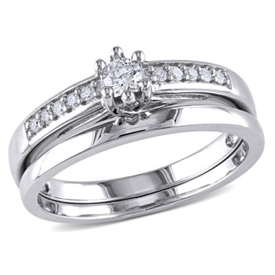 1/4 CT. T.W. Diamond Sterling Silver Bridal Set