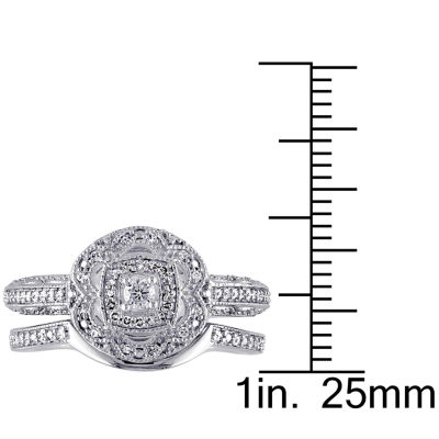 1/3 CT. T.W. Diamond Sterling Silver Vintage Style Bridal Set
