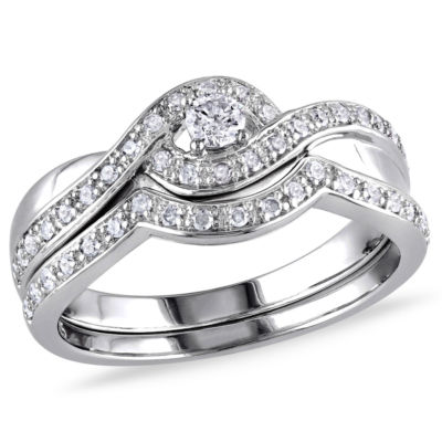 1/3 CT. T.W. Diamond Sterling Silver Bypass Style Bridal Set
