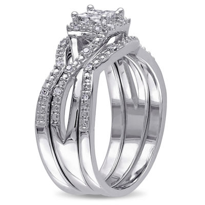 1/3 CT. T.W. Diamond Sterling Silver Bridal Set