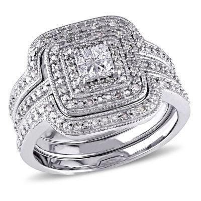 3/8 CT. T.W. Diamond Sterling Silver Art Deco Style Bridal Set