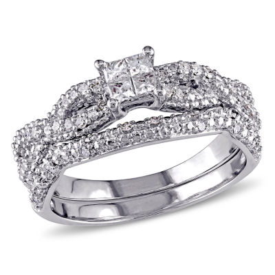 3/8 CT. T.W. Diamond Sterling Silver Bridal Set