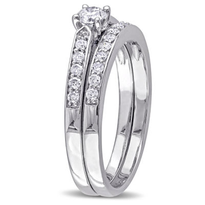 1/2 CT. T.W. Diamond Sterling Silver Bridal Set