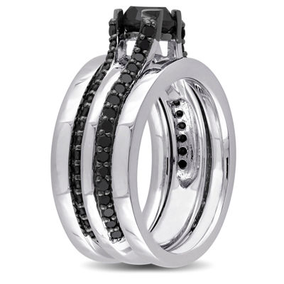 Midnight Black Diamond 1 3/4 CT. T.W. Color-Enhanced Black Diamond Sterling Silver Contemporary Bridal Set