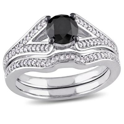 Midnight Black Diamond 1 1/4 CT. T.W. Color-Enhanced Black & White Diamond 10K White Gold Bridal Set