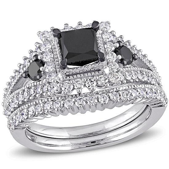 Midnight Black Diamond 2 CT T.W. Color-Enhanced Black & White Diamond 10K White Gold Bridal Set