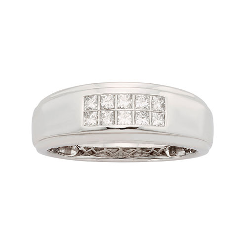Mens 1/2 CT. T.W. Certified Diamond 14K White Gold Wedding Band