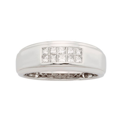 Mens 1/2 CT. T.W. Certified Diamond 14K White Gold Wedding Band