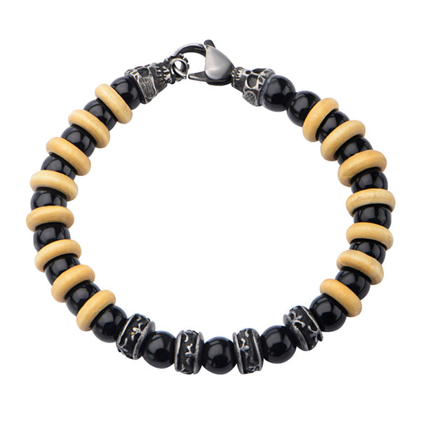 Inox® Jewelry Mens Agate Bead, Stainless Steel Bracelet