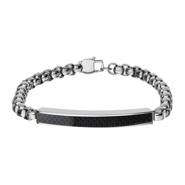 Inox® Jewelry Mens Stainless Steel Black Textured Plate ID Bracelet