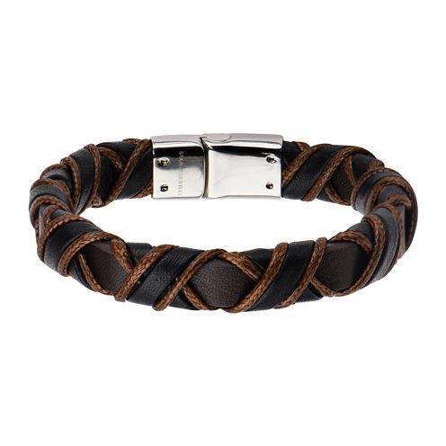 Inox® Jewelry Mens Stainless Steel Black & Brown Woven Leather Bracelet