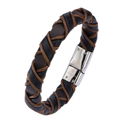 Inox® Jewelry Mens Stainless Steel Black & Brown Woven Leather Bracelet