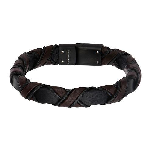 Inox® Jewelry Mens Black IP Stainless Steel & Brown Leather Bracelet