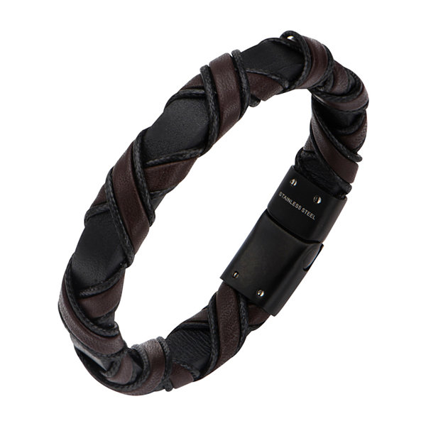 Inox® Jewelry Mens Black IP Stainless Steel & Brown Leather Bracelet